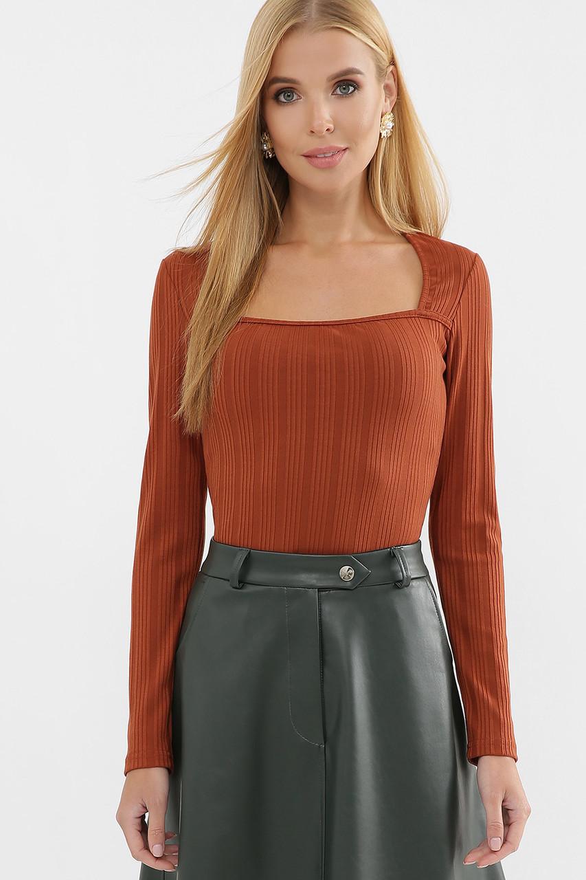 Приталенная женская длинная футболка-лонгслив оранжевого цвета, размер S, M, L, XL