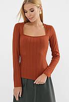 Приталенная женская длинная футболка-лонгслив оранжевого цвета, размер S, M, L, XL, фото 3