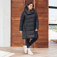 Черная зимняя женская батальная куртка