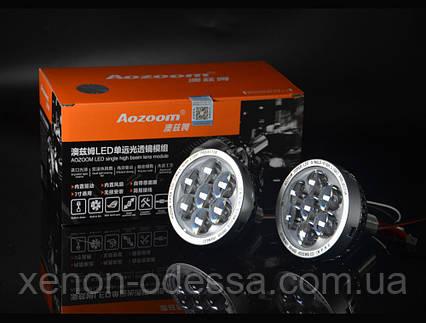AOZOOM LED прожекторы дальнего света с Дьявольскими глазами / LED High Beam projector lens + Devil Eyes, фото 2