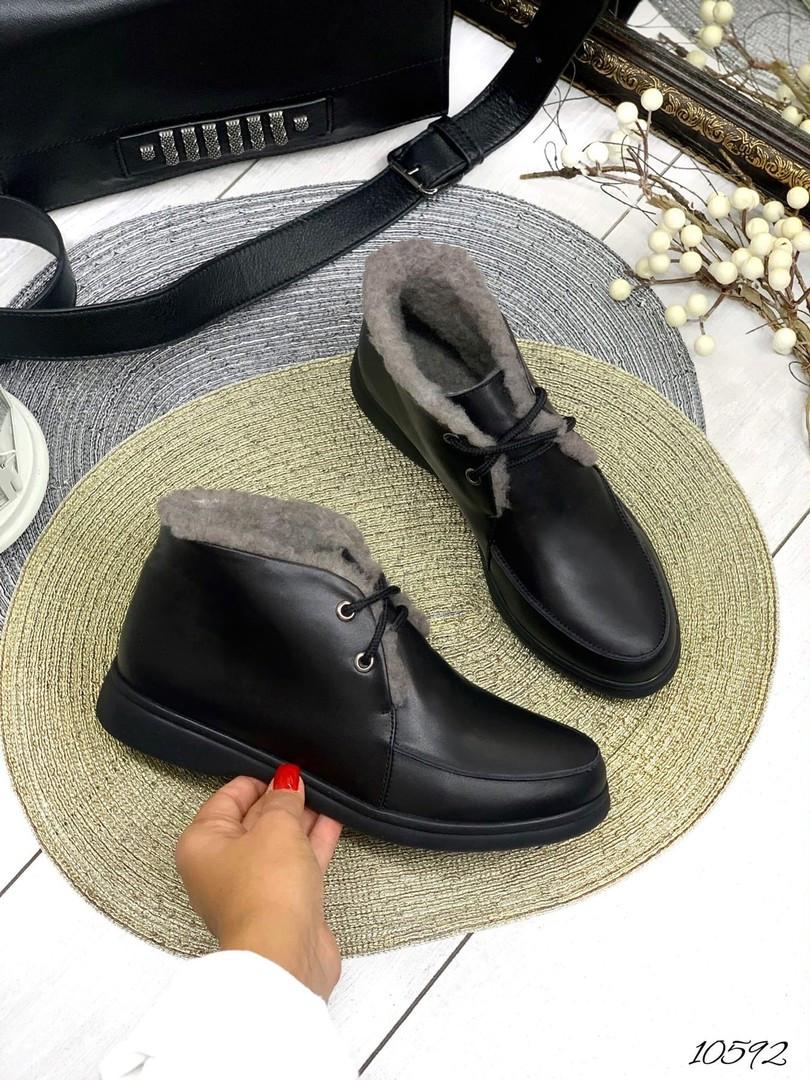 Лоферы Loro зима чёрная кожа на шнурках натуральная кожа В наличии и под заказ