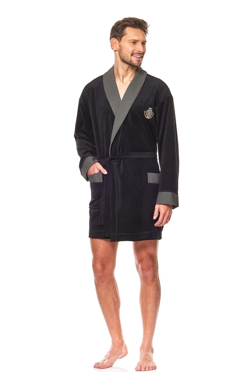 Чоловічий короткий халат L&L 9101 велюр