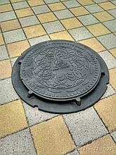 Люк канализационный полимерпесчанный газонный черный