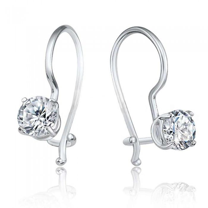 Срібні сережки камінчики з французьким замком
