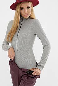 Красивое женское боди с длинным рукавом, цвет серый, размер S, M, L, XL