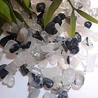 Натуральный камень кварц волосатик черно-белый Инь Янь фр.5-10 мм