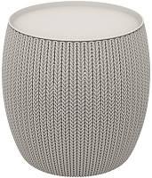 Стол-сундук ротанг (круглый короб) KNIT (COZIES) TABLE 41л, Keter (Израиль) - серый, беж