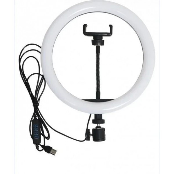 Кольцевая LED лампа LC-666 , 1 крепление телефона, USB (26см)