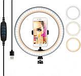 Кольцевая LED лампа LC-666 , 1 крепление телефона, USB (26см), фото 2