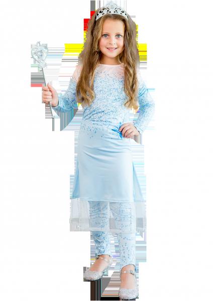 Карнавальный костюм Эльзы с лосинами для девочки