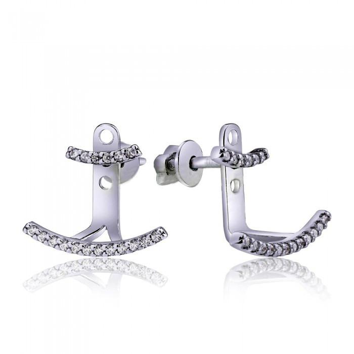 Срібні сережки джекеты з фіанітами 82693б