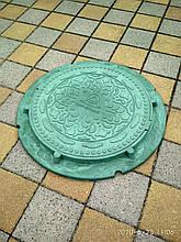 Люк канализационный полимерпесчанный газонный зеленый