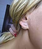 Срібні сережки джекеты з фіанітами 82693б, фото 3