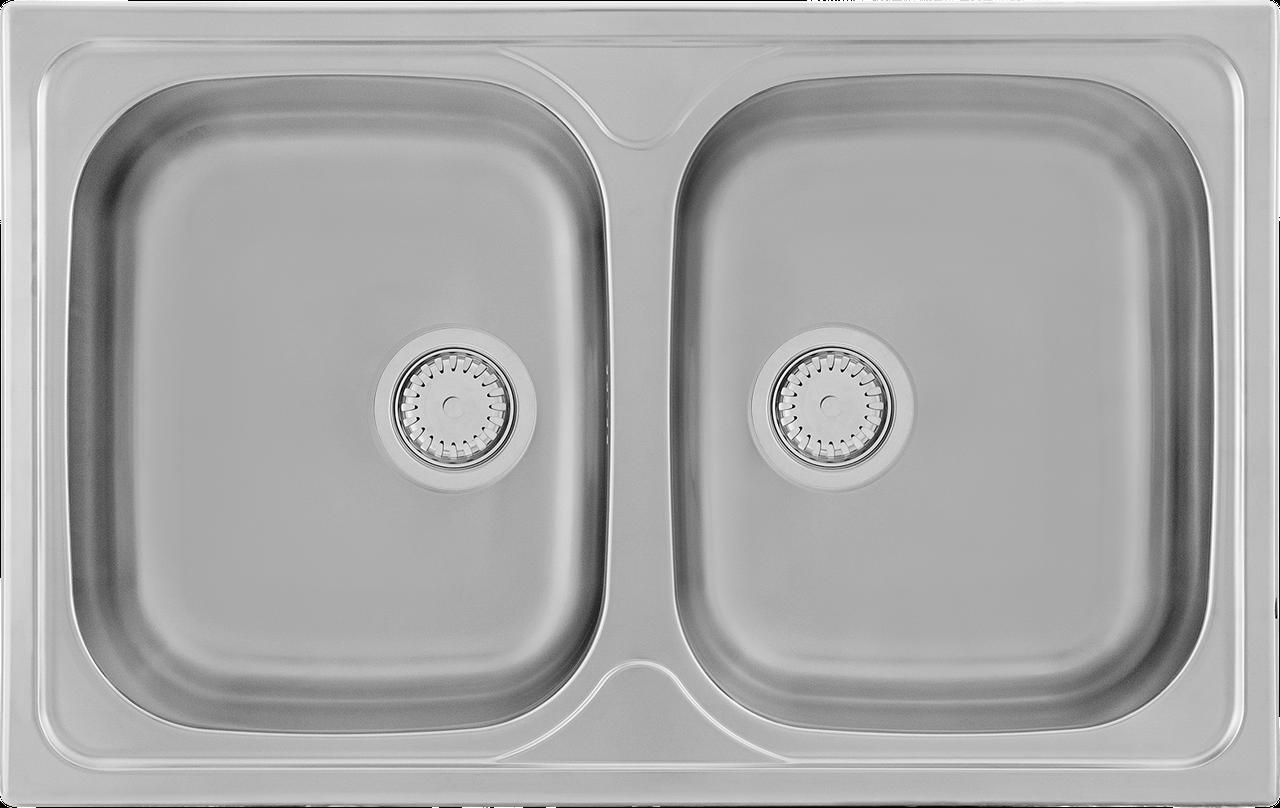 Кухонная мойка Kernau KSS G 804 2B SMOOTH 80*50 двойная стальная