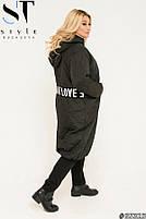 Подовжена стильна демісезонна куртка, синтепон 150, з утяжкой на подолі з 50 по 64 розмір, фото 3
