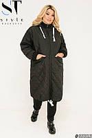 Подовжена стильна демісезонна куртка, синтепон 150, з утяжкой на подолі з 50 по 64 розмір, фото 2