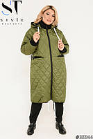 Подовжена стильна демісезонна куртка, синтепон 150, з утяжкой на подолі з 50 по 64 розмір, фото 5
