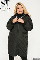 Подовжена стильна демісезонна куртка, синтепон 150, з утяжкой на подолі з 50 по 64 розмір, фото 6