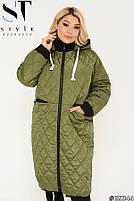 Подовжена стильна демісезонна куртка, синтепон 150, з утяжкой на подолі з 50 по 64 розмір, фото 9