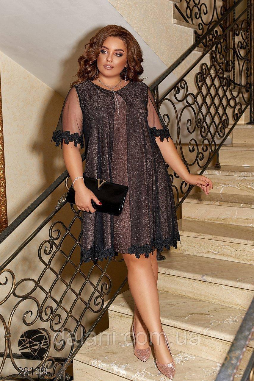 Вечірнє коричневе плаття з сіткою та мереживом