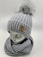 ОПТ. Комплект шапочка для дівчинки зі снудом «Колосок», на флісі, фото 1