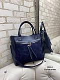 Женская комбинированная сумка кожзам/натуральная замша, фото 4