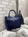 Жіноча комбінована сумка кожзам/натуральна замша, фото 4