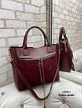 Женская комбинированная сумка кожзам/натуральная замша, фото 2