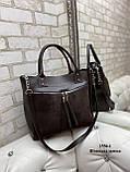 Женская комбинированная сумка кожзам/натуральная замша, фото 9
