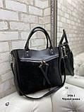 Женская комбинированная сумка кожзам/натуральная замша, фото 6
