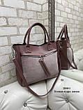 Жіноча комбінована сумка кожзам/натуральна замша, фото 2