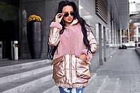 Стильная женская курточка, с капюшоном, пудровая, 501-913-2