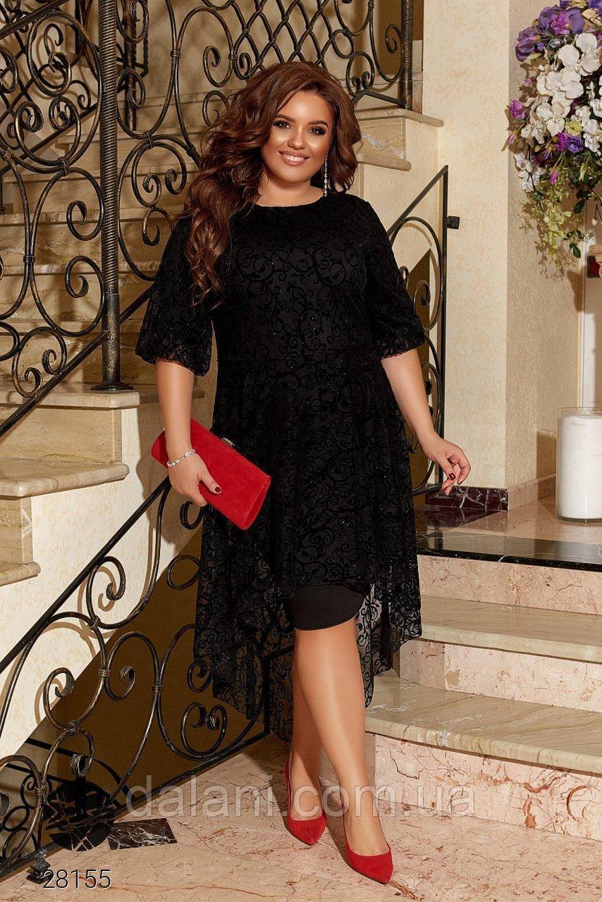 Вечернее черное платье ассиметричное батал