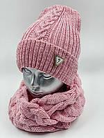 ОПТ. Комплект шапочка для дівчинки зі снудом «Красуня», на флісі, фото 1