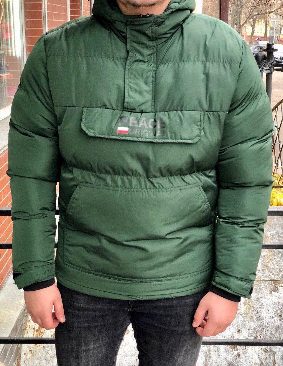 Куртка - Мужской анорак зима (зеленого цвета)