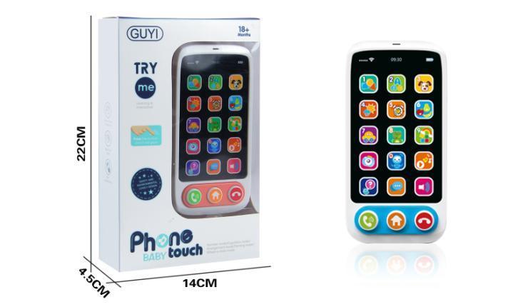 Телефон G-A097  обуч, 15,5см, муз, звук(англ), звук, 2цвета, на бат-ке ,в кор-ке, 14-22-4,5см