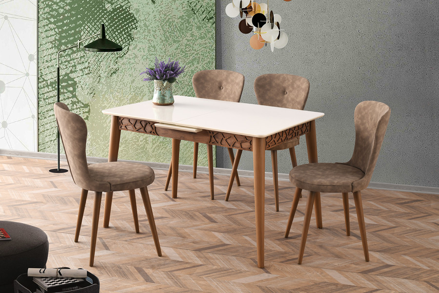 Комплект обеденной мебели стол   - 120+30  + 4 стула, Lider
