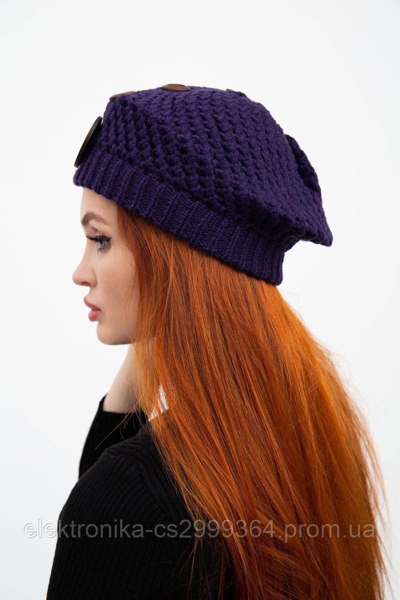 Шапка женская 126R010 цвет Темно-фиолетовый