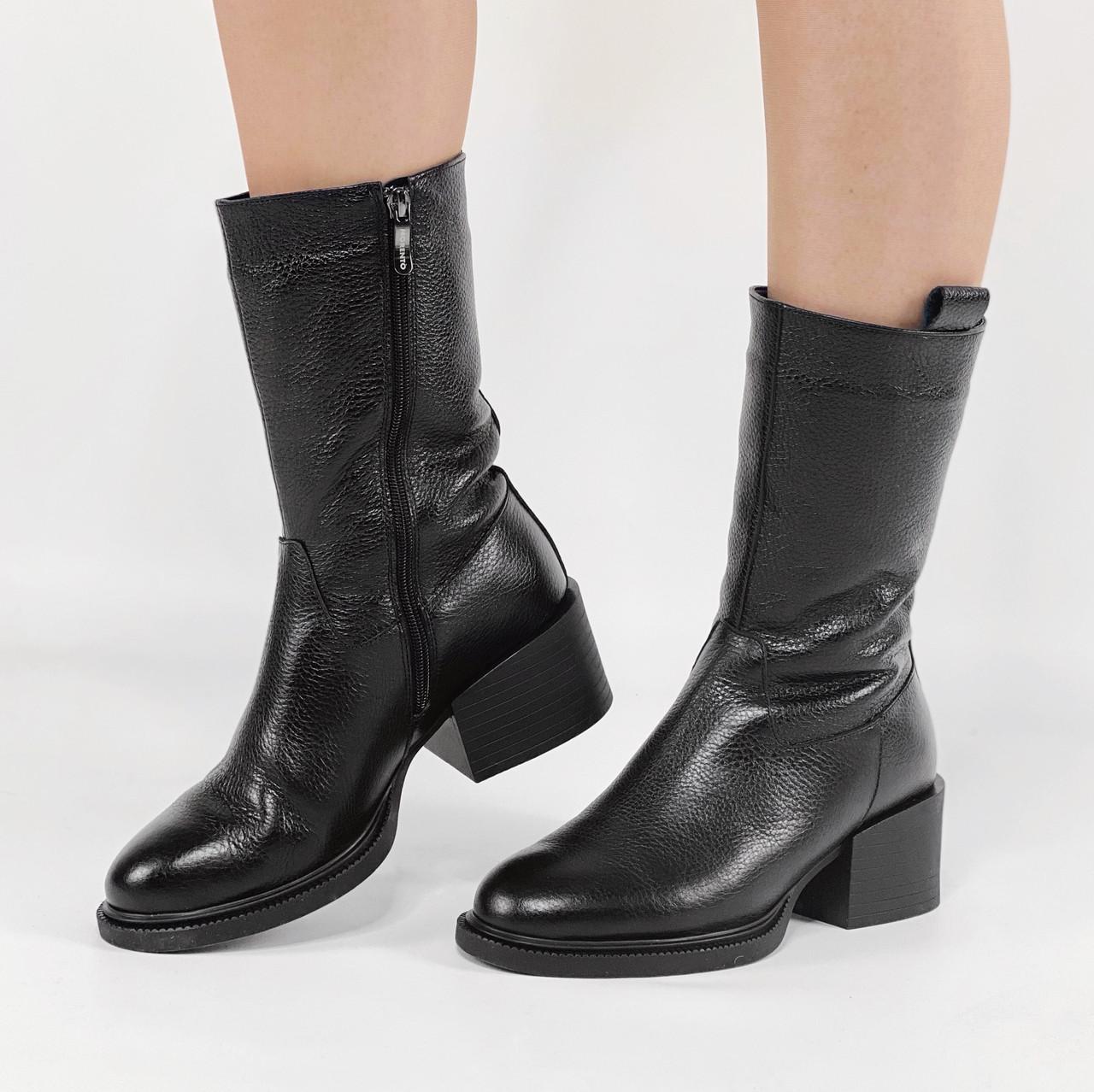 Ботинки женские кожаные черные на устойчивом каблуке MORENTO зимние