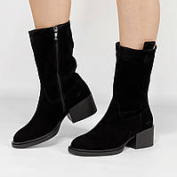 Ботинки женские замшевые черные на устойчивом каблуке MORENTO зимние