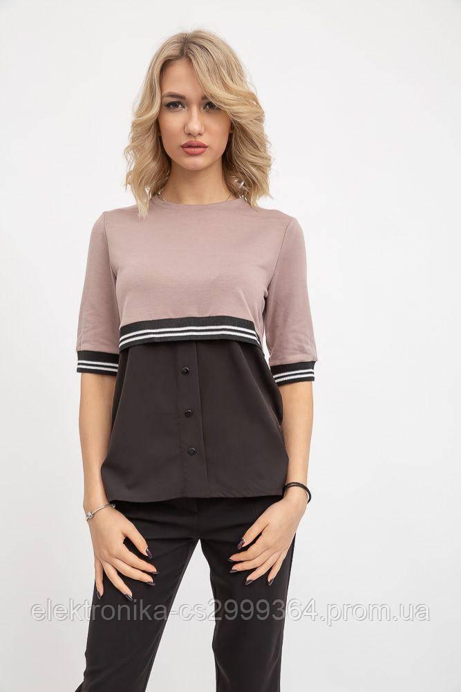 Блуза женская 119R163 цвет Бежево-черный