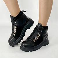 Ботинки женские кожаные черные на толстой подошве с замшевыми вставками MORENTO зимние