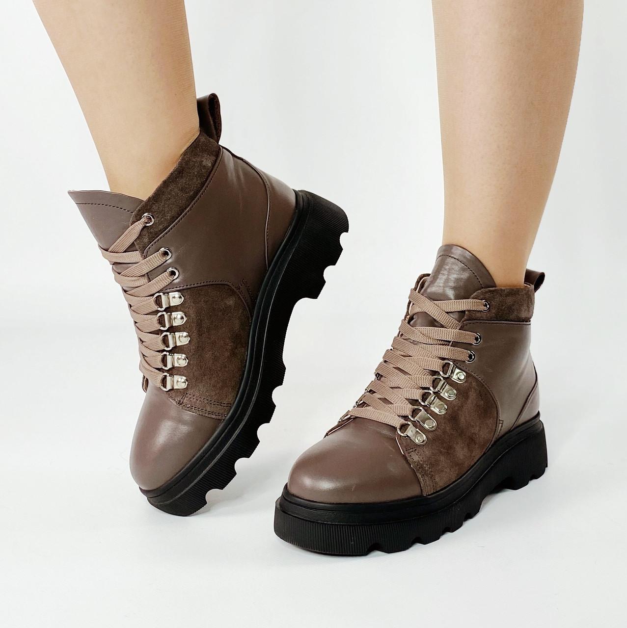 Ботинки женские кожаные цвета кофе на толстой подошве с замшевыми вставками MORENTO зимние