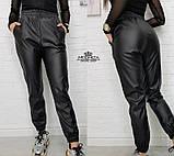 """Женские кожаные штаны на резинке """"Маркус""""  Норма, фото 4"""