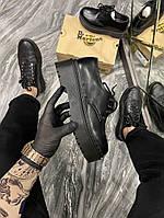 Женские туфли Dr Martens 1461 Platform Mono Black (Черный) Мартинс Ботинки