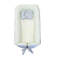Прямоугольный кокон-гнездышко для новорожденных с ортопедической подушкой цвета ванили