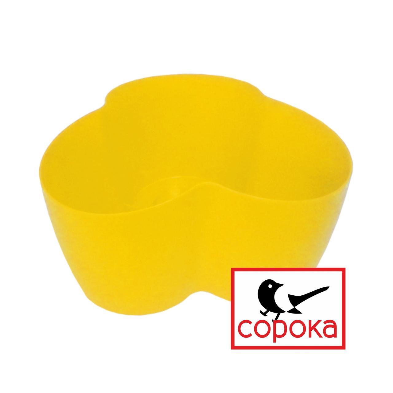 Вазон для цветов Алеана Кактус желтый на 3 растения 1,1л (Горшок для фиалок на три растения пластиковый)