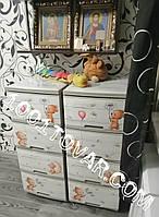 2 шт. комод пластиковый Алеана, с рисунком Мишутки, кремовый