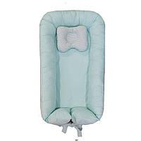 """Кокон для новорожденных, позиционер двухсторонний + ортопедическая подушка """"Светлая мята"""""""