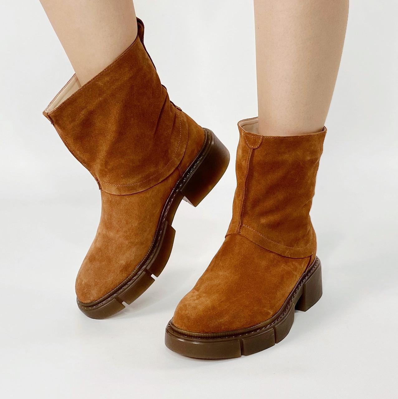 Ботинки стильные женские замшевые рыжие без застежки MORENTO зимние